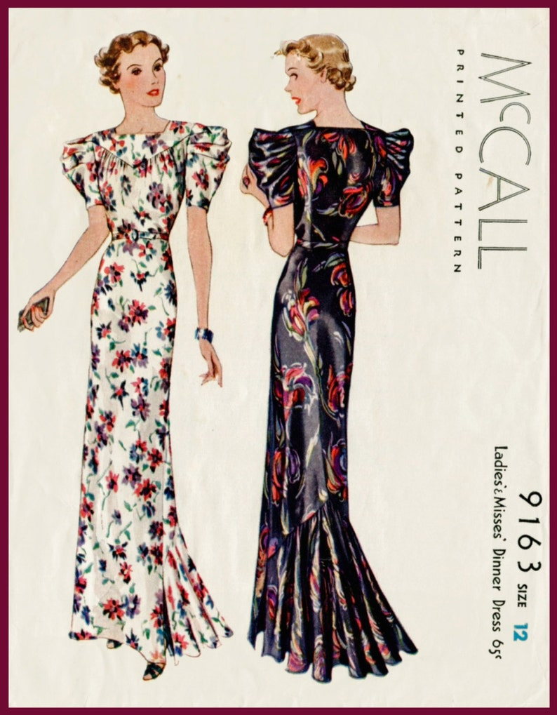 9ea03623f2b Vintage sewing pattern 1930s 30s vintage evening dress gown