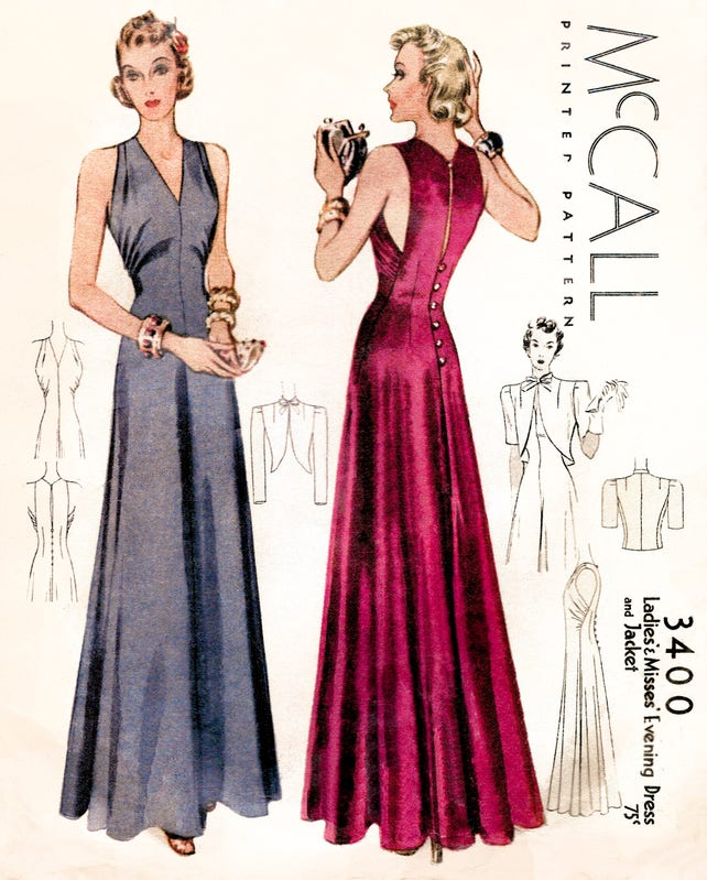 1930s 30s vintage evening gown sewing pattern reproduction //   Etsy