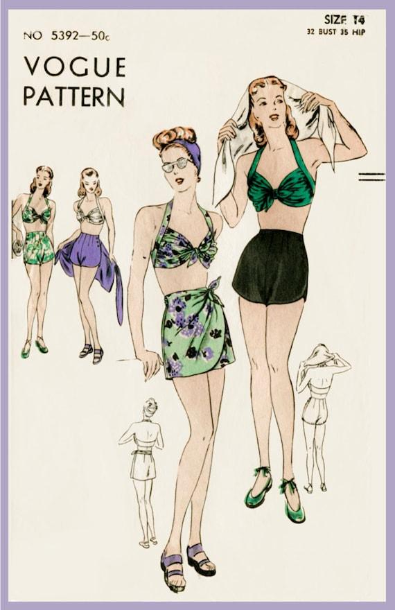vintage sewing pattern 1940s 40s vintage Vogue sewing pattern | Etsy