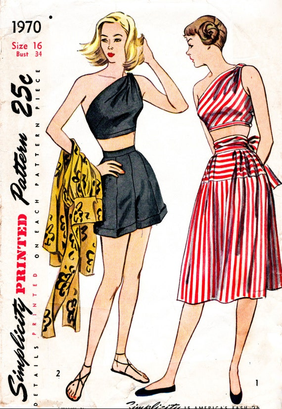1940s 1950s Vintage Nähen Muster Reproduktion einer Schulter | Etsy