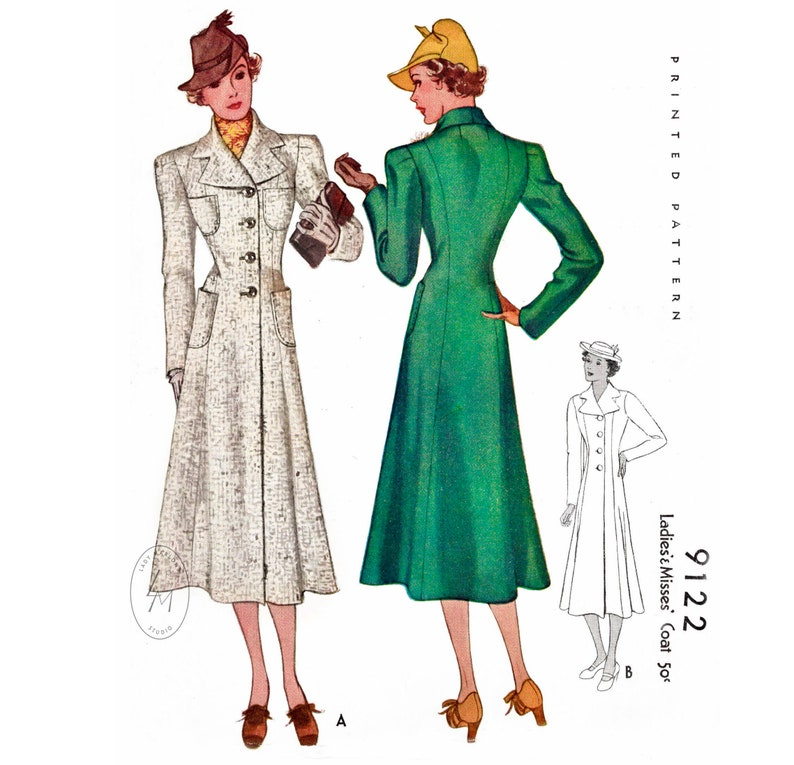 1930s Fashion Colors & Fabric 1930s 30s vintage coat sewing pattern 2 styles // outerwear suiting // // notch collar // princess seams // bust 32 34 36 38 40 $22.50 AT vintagedancer.com