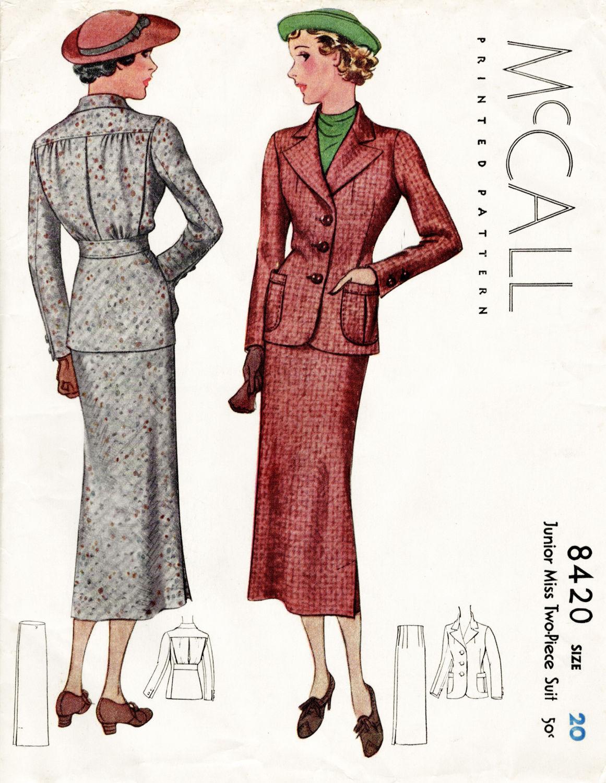 1930er Jahren 30er Jahre Rock Anzug Vintage Schnittmuster