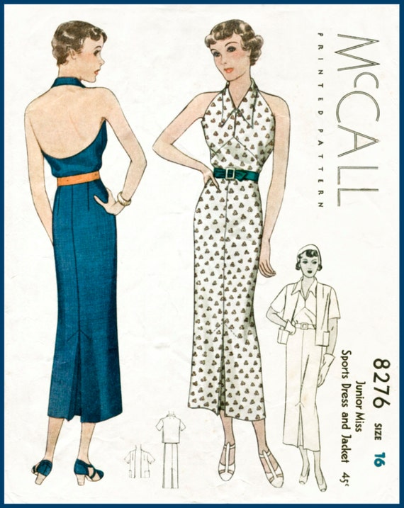 30s 1930s repro vintage women\'s sewing pattern halter neck | Etsy