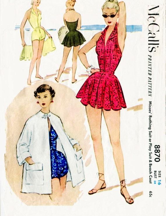 1950er Jahre 50er Jahre Vintage Badeanzug Schnittmuster ein | Etsy