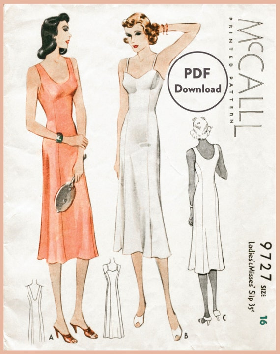 1930er Jahren 30er Jahre Vintage Dessous Nähen Muster Schlupf   Etsy