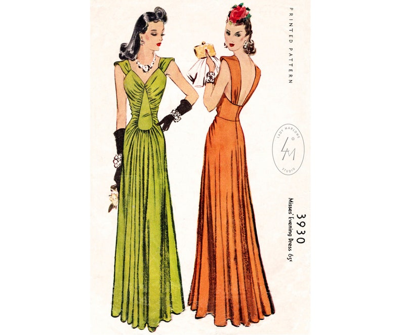1940s Fabrics and Colors in Fashion 1940 vintage sewing pattern 1940s evening gown // film noir style dress // // Bust 30 32 34 36 38 $25.80 AT vintagedancer.com