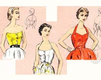 vintage sewing pattern reproduction 1950s 50s crop top halter blouse bustier fitted / PICK YOUR SIZE Bust 32 34 36 38 40