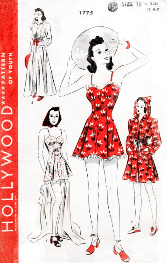 vintage sewing pattern 1940s 40s pattern // beachwear playsuit | Etsy