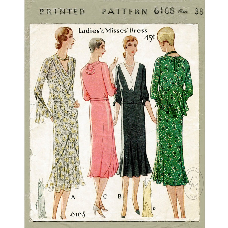 1920s Patterns – Vintage, Reproduction Sewing Patterns vintage sewing pattern reproduction 1930s 30s dress sewing pattern afternoon tea dress ruffle inserts bust 38 b38 $22.80 AT vintagedancer.com