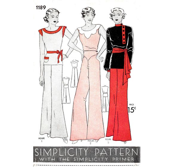 década de 1930 30s reproducción del patrón de costura vintage | Etsy