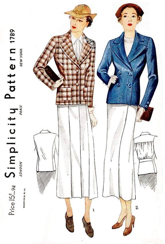 1930er Jahre 03s Jacke Vintage Nähen Muster Reproduktion / / 2 | Etsy
