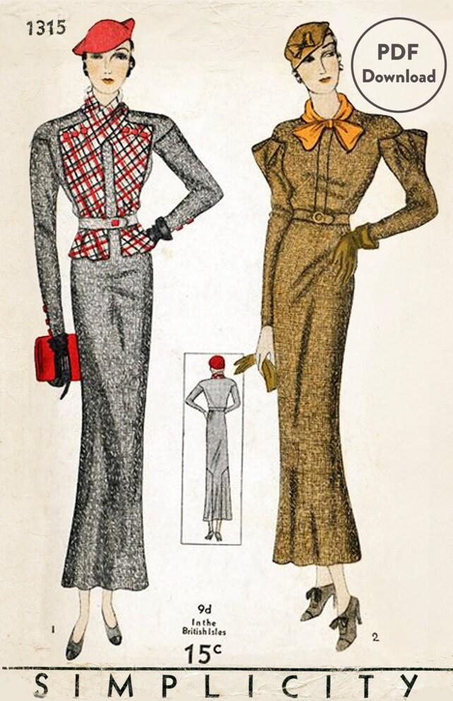 1930er Jahren 30er Jahre Vintage Schnittmuster Anzug Kleid   Etsy