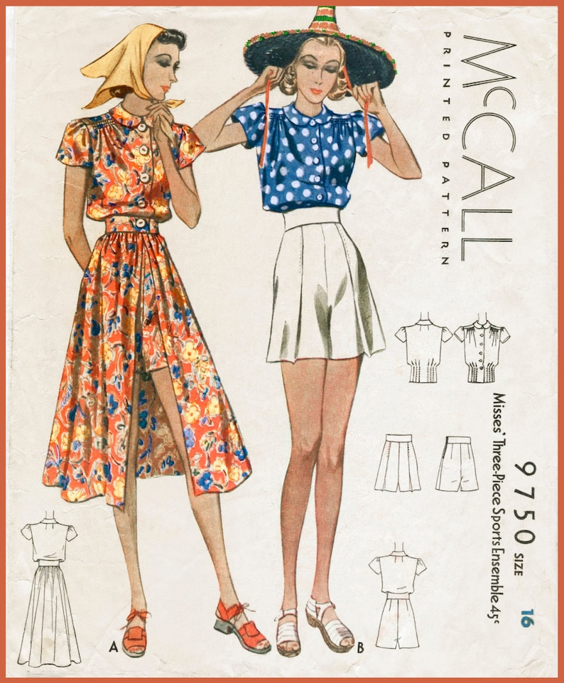 6ef66401f9 Vintage sewing pattern 1930s 1940s playsuit skirt shorts