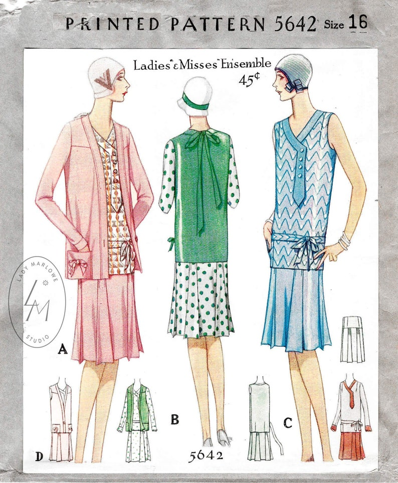 1920s Patterns – Vintage, Reproduction Sewing Patterns 1920s dress vintage sewing pattern reproduction / jacket / pleat skirt/ drop waist / button tab / bust 34 $22.80 AT vintagedancer.com