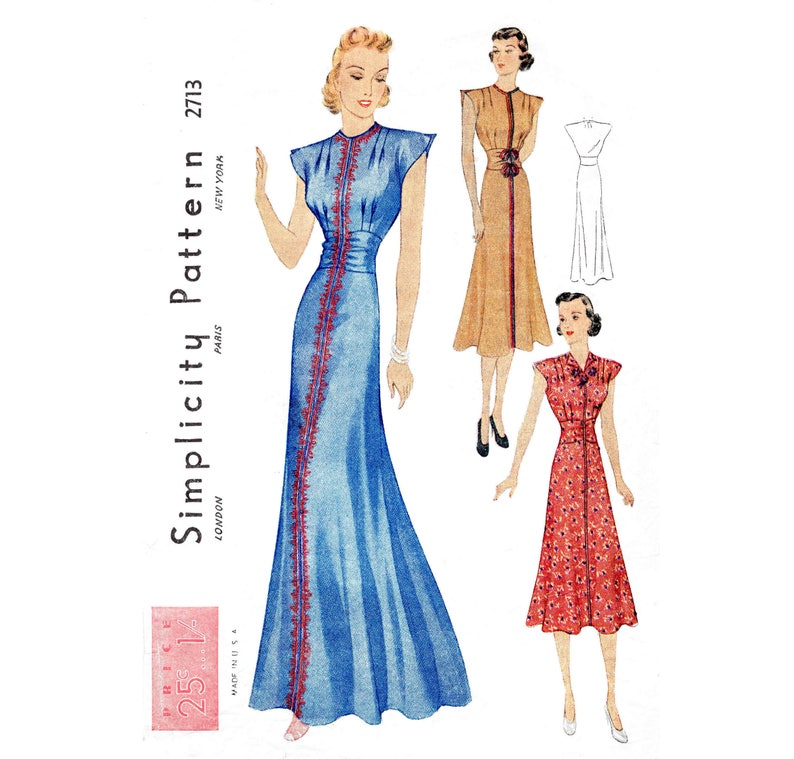 36e2c90bd8 Vintage sewing pattern 1930s 30s evening gown or day dress