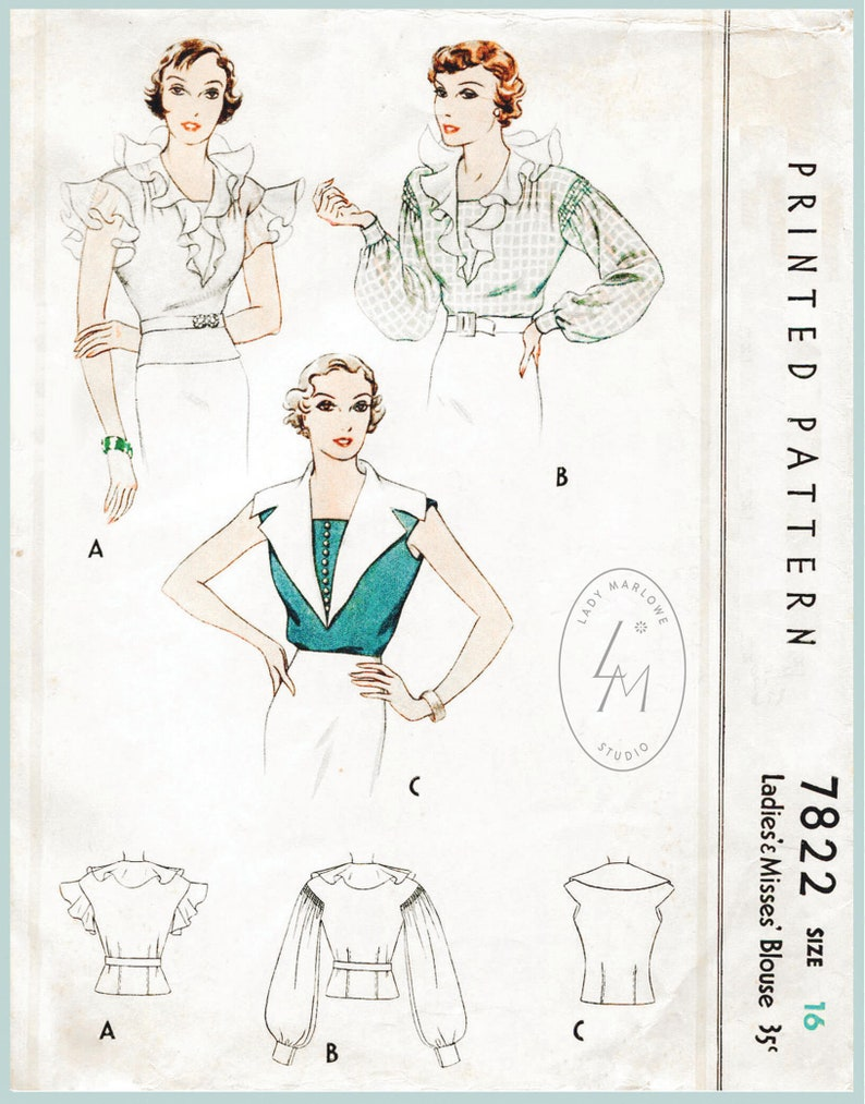 vintage sewing pattern vintage sewing pattern 1930s 30s misses women/'s  art deco blouse Bust 34 B34 Repro with French /& English instructions
