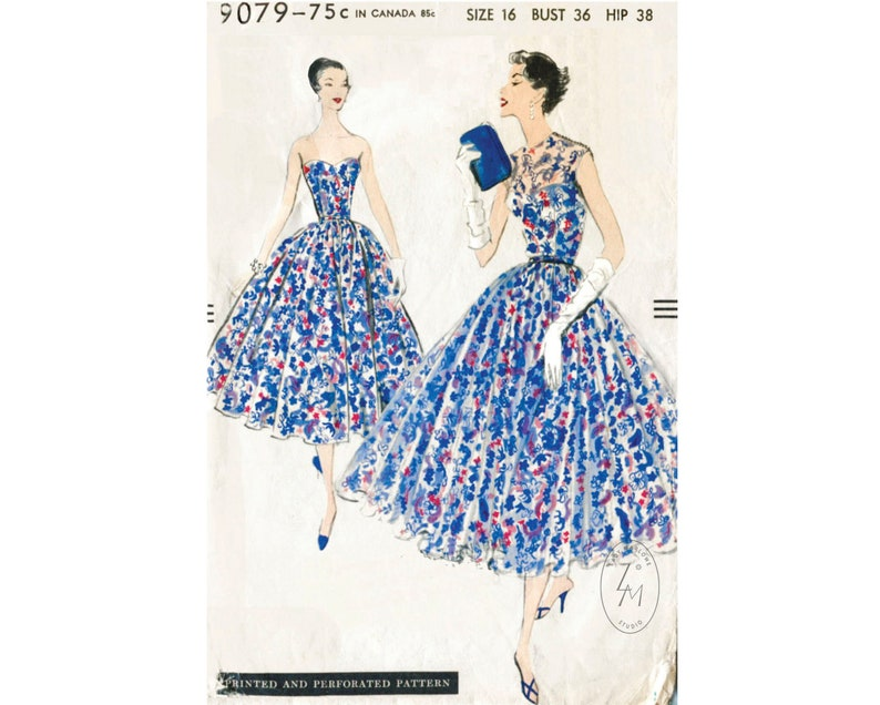 1950s Sewing Patterns | Dresses, Skirts, Tops, Mens vintage sewing pattern 1950s 50s cocktail dress pattern ball gown evening bustier full skirt Bust 36 reproduction $25.50 AT vintagedancer.com