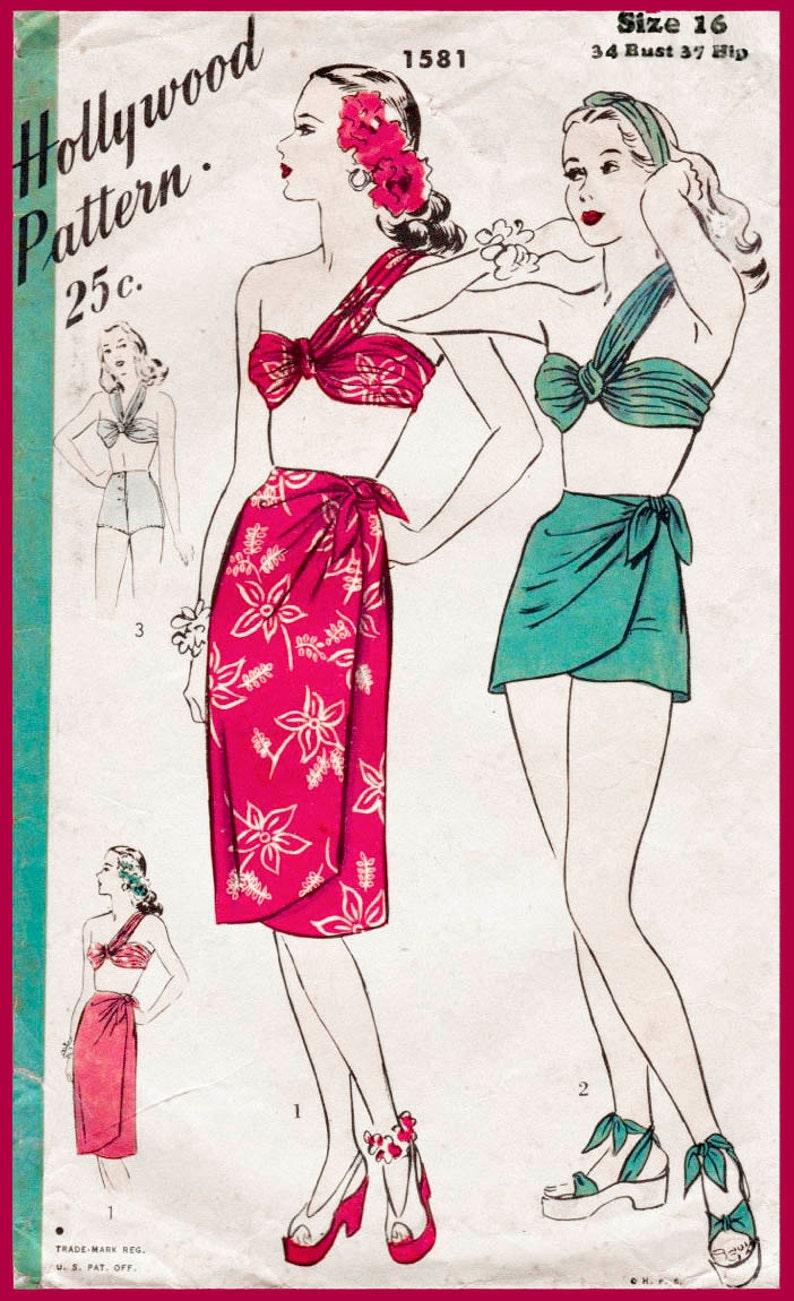 Hip Badpak.Vintage Naaien Patroon 1940s 40s Bikini Beha Omslag Rok Hoge Etsy