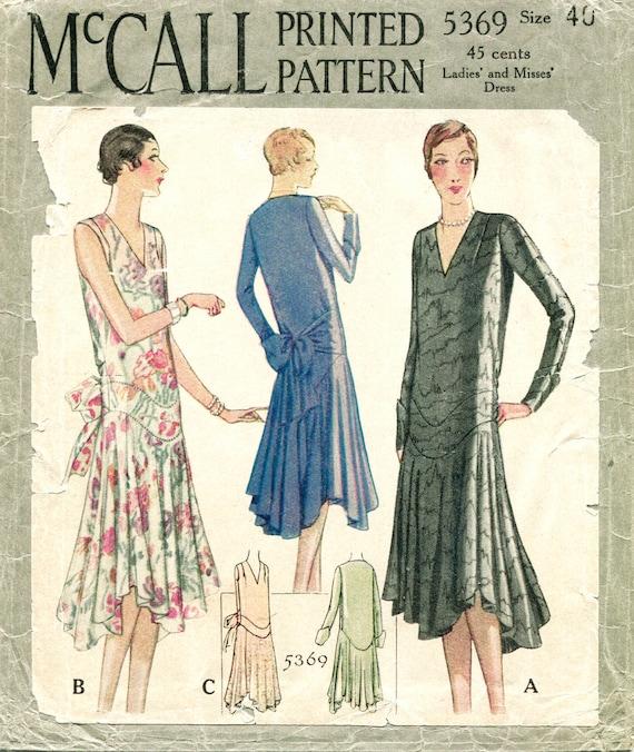 1920s 1930s Vintage Nähen Muster Flapper Tag oder Abend Kleid   Etsy