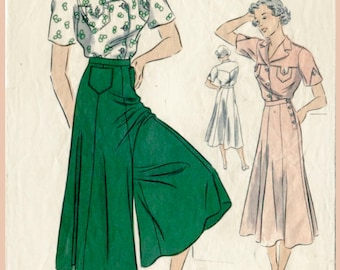 1930s vintage sewing pattern wide leg trousers or culotte skirt & blouse bust 34 b34 repro