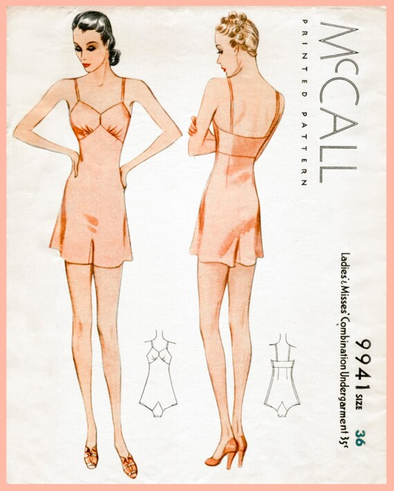 Retro Lingerie, Vintage Lingerie, New 1950s,1960s, 1970s 1930s 30s McCall vintage lingerie sewing pattern romper bodysuit teddy bust 36 b36 English & French $19.50 AT vintagedancer.com
