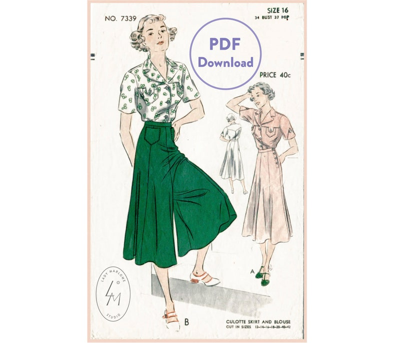 1930s Wide Leg Pants and Beach Pajamas vintage sewing pattern 1930s wide leg trousers or culotte skirt & blouse bust 34 Instant Download $14.80 AT vintagedancer.com