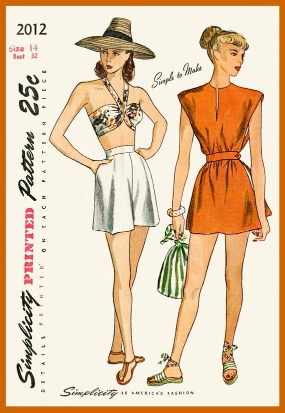 1940er Jahre 40er Jahre Vintage Badeanzug Nähen | Etsy