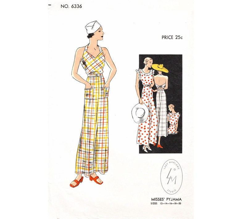 1930s Wide Leg Pants and Beach Pajamas 30s 1930s jumpsuit vintage womens sewing pattern reproduction // pinafore overalls // beach pajamas // bust 32 34 36 38 40 $22.80 AT vintagedancer.com