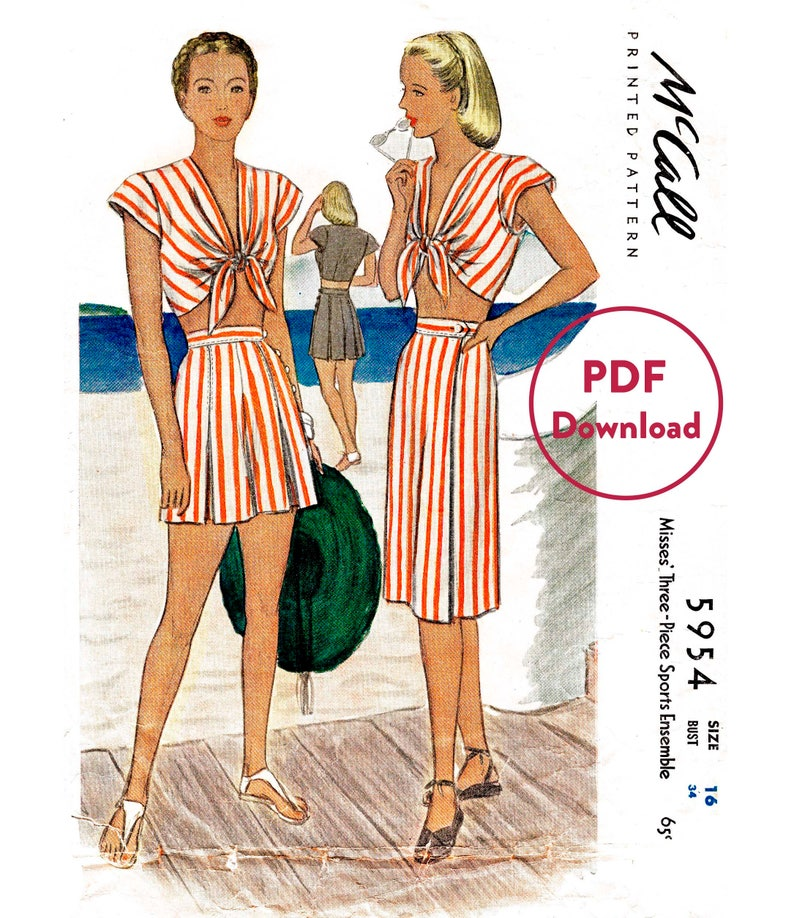 8b1da9c395 Vintage sewing pattern 1940s 40s repro    front tie crop top