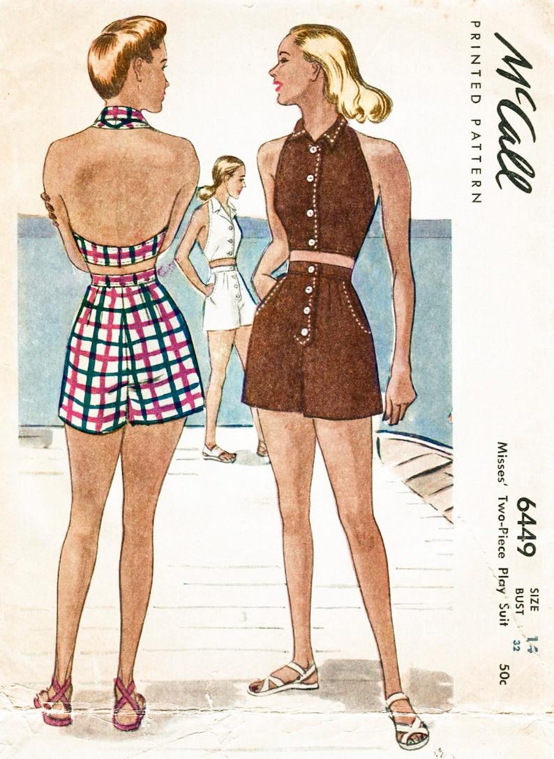 3ba1eeb698f Vintage sewing pattern 1940s 40s vintage beach playsuit sewing