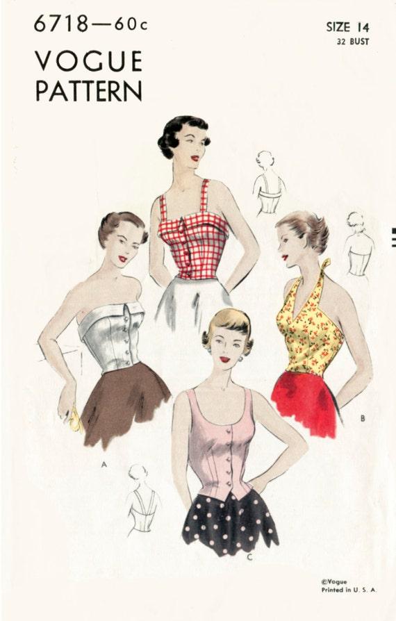 década de 1950 años 50 vintage costura patrón cosecha halter