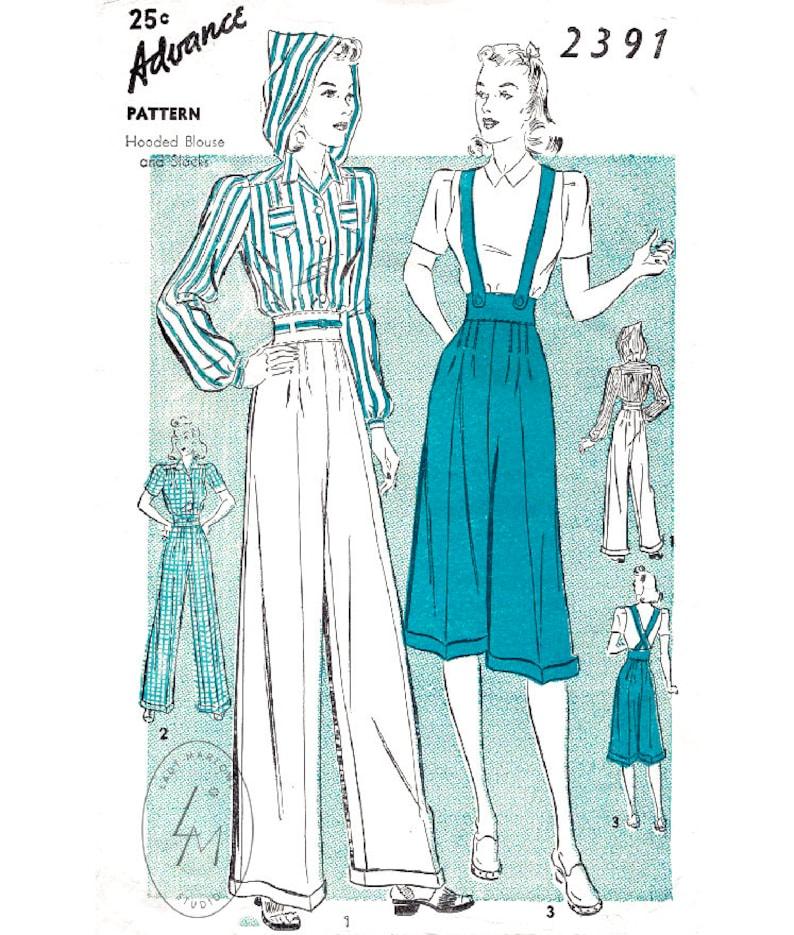 vintage sewing pattern 1940s rosie the riveter workwear image 0
