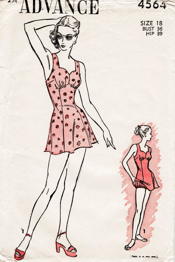 vintage sewing pattern 1940s 40s reproduction beachwear | Etsy