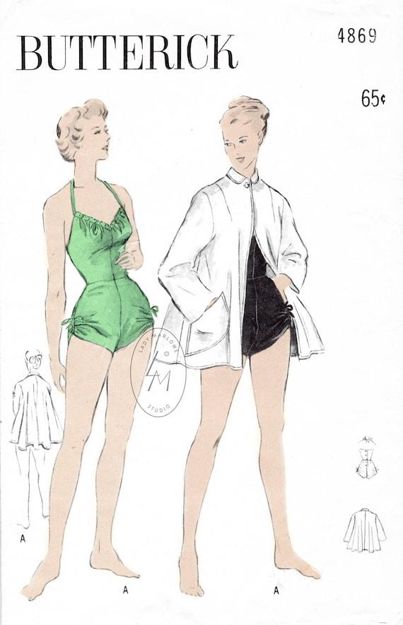 1950er Jahre 50er Jahre Vintage Badeanzug Nähen Muster | Etsy