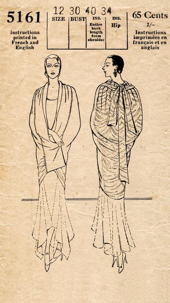1920er Jahre 20er Jahre Vintage Schnittmuster Kokon Umhang