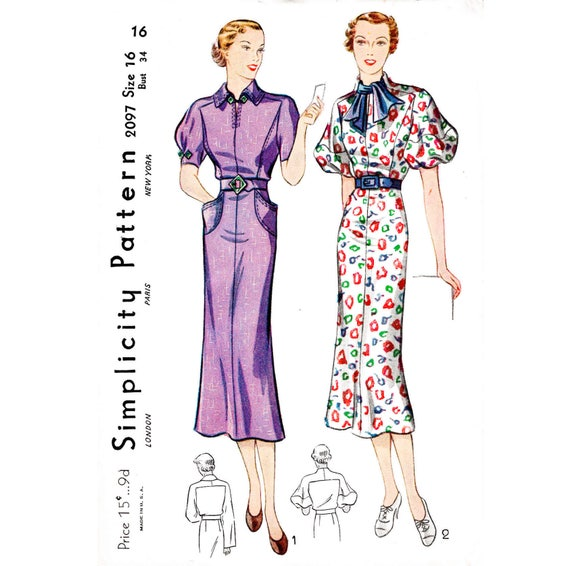 1930s 30 dress vintage sewing pattern // 2 styles // puff | Etsy