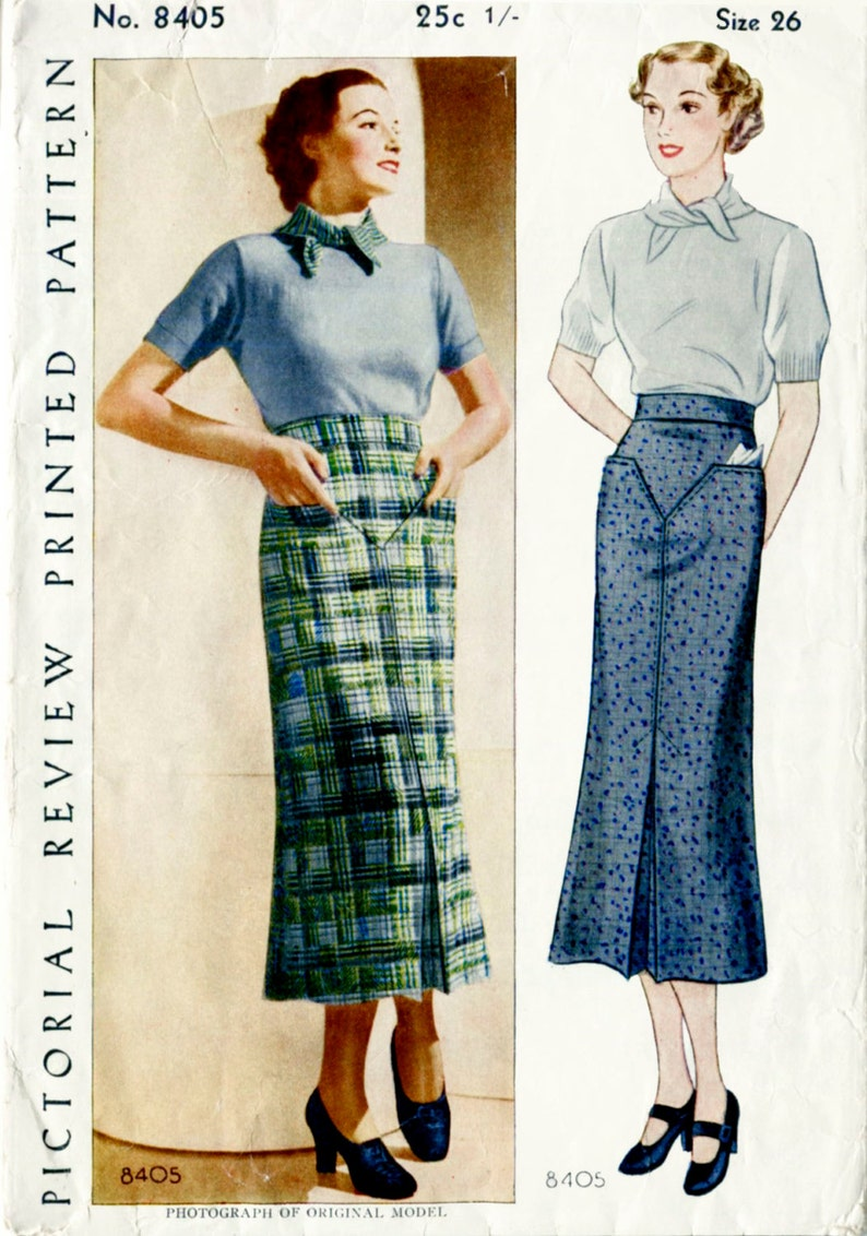 c3b6ad3482 Vintage sewing pattern 1930s 30s vintage pencil skirt yoke and