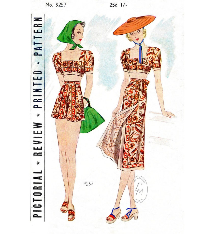 b79126f0e0 Vintage sewing pattern 1920s 1930s beachwear crop top high