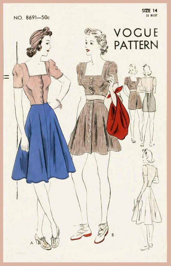 costura Vintage patrón Vogue 40 años de la década de 1940 | Etsy