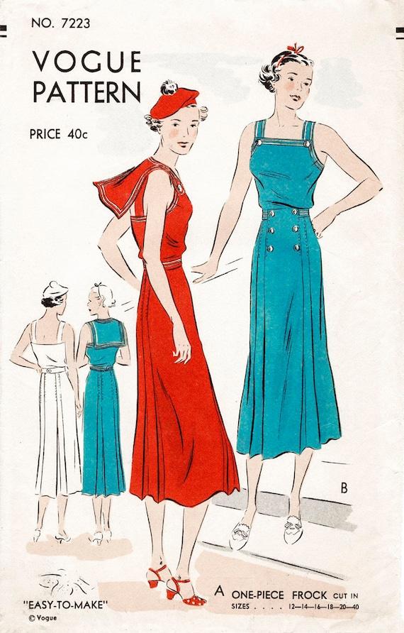1930er Jahre Seemann Kleid Damen Vintage Nähen Muster | Etsy
