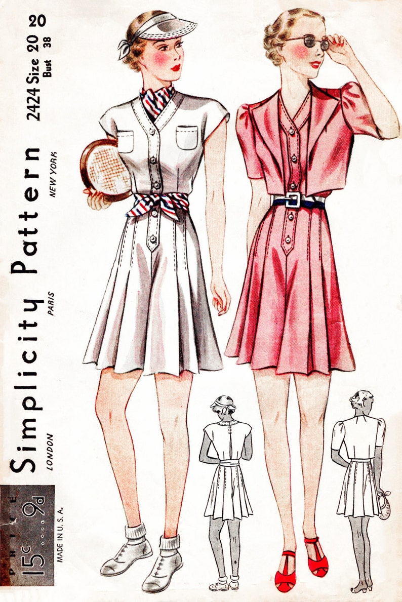 cba3f7c788 Vintage sewing pattern 30s 1930s playsuit culottes sports