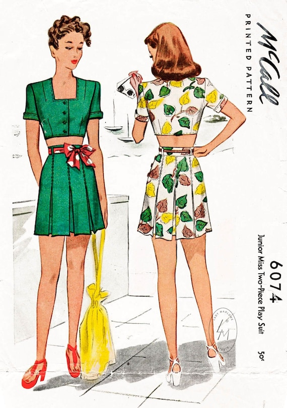 60s Vintage Sewing Pattern Crop Top High Waist Shorts Etsy Cool High Waisted Shorts Pattern