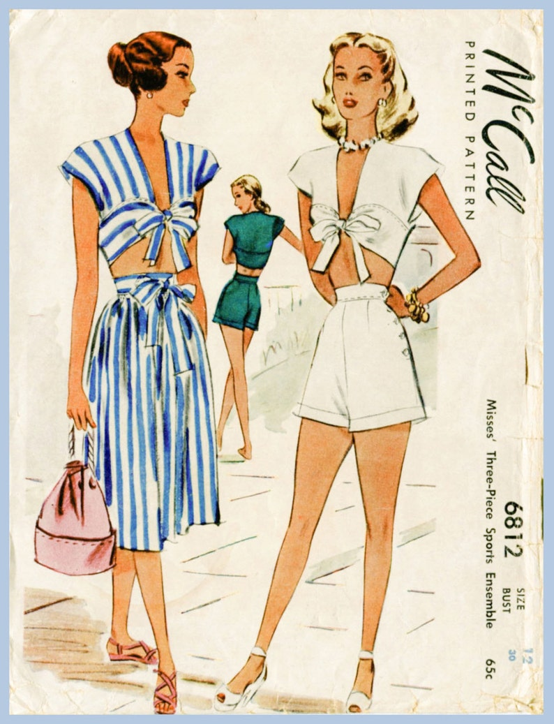 30dbfe87eb 1940s 40s vintage playsuit sewing pattern crop top skirt high