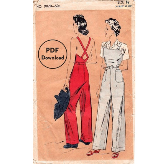 """Vintage 1940/'s Sewing Pattern Three-Piece Play Suit Shirt Bra Shorts B 30/"""" WWII"""