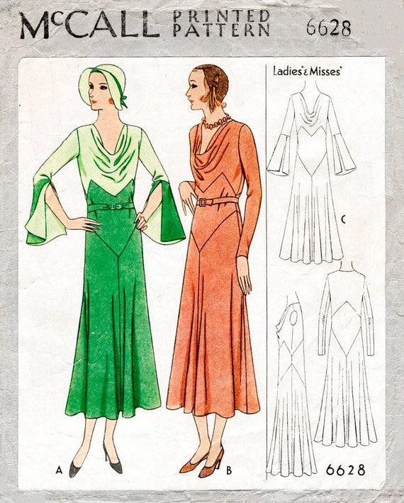 1930er Jahren 30er Jahre Kleid Vintage Nähen Muster | Etsy