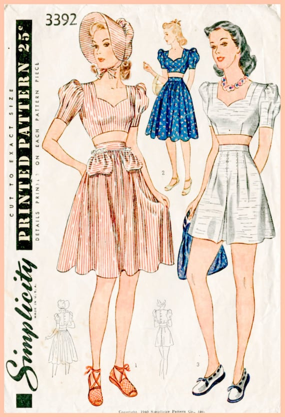 1940s 40s vintage sewing pattern crop top playsuit skirt high | Etsy