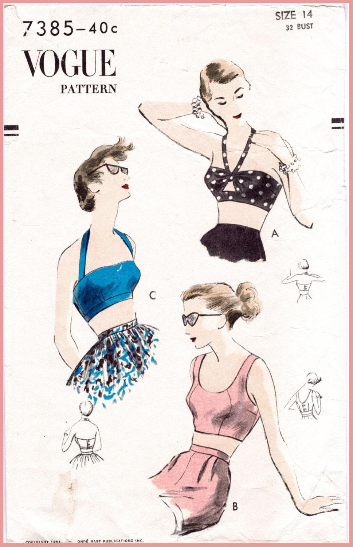 década de 1950 años 50 vintage costura patrón repro cultivo | Etsy