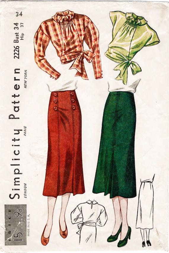 Vintage Schnittmuster der 1930er Jahre 30er Jahre Rock & Bluse | Etsy
