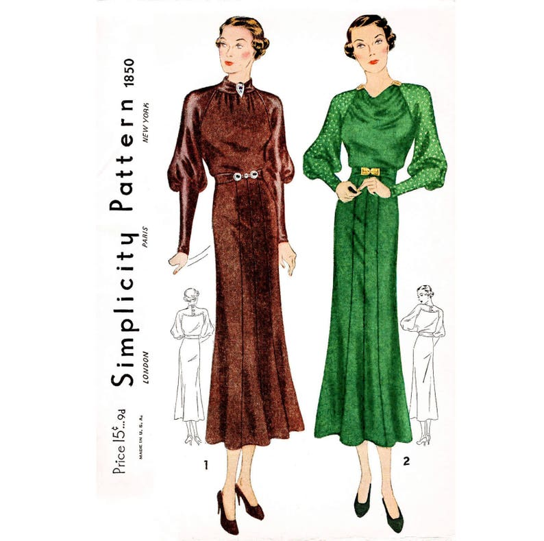 a3db369d06 1930s 30s dress vintage sewing pattern    draped collar