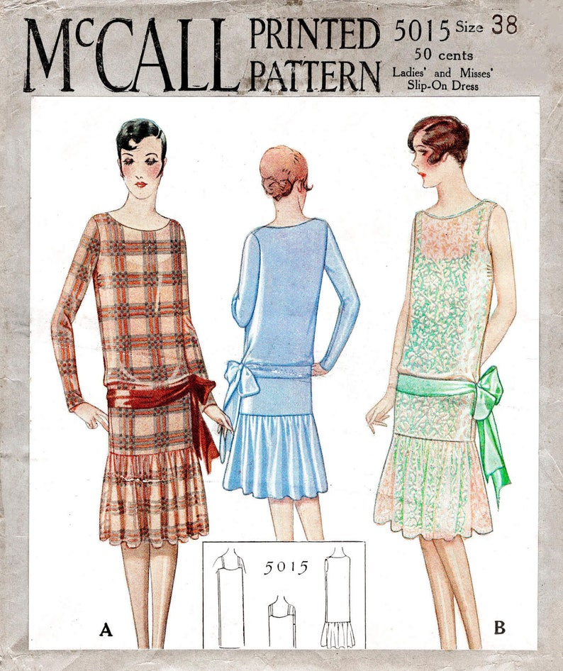 1920s Patterns – Vintage, Reproduction Sewing Patterns vintage sewing pattern 1920s 20s flapper party dress & camisole slip // // drop waist // ruffle skirt // sash bow // bust 38 $23.50 AT vintagedancer.com